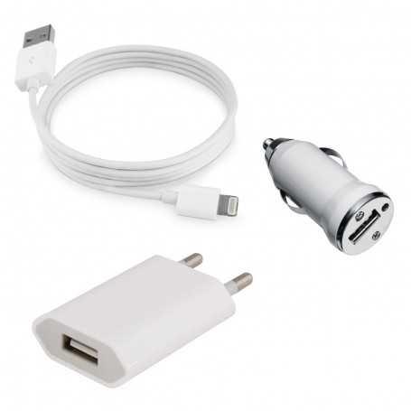"""Kit chargeur 3 en 1 """"Lightning"""" pour iPhone, iPad, iPod : USB, Secteur, Voiture"""