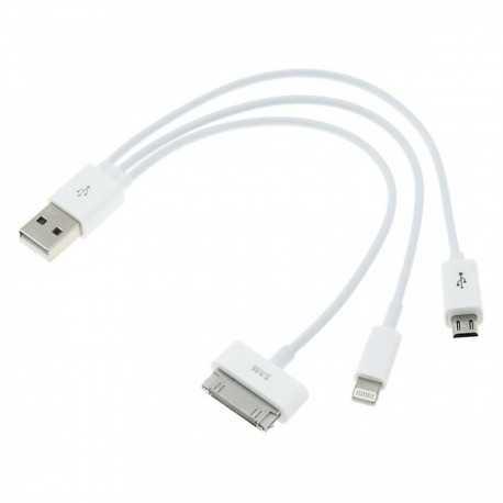 Câble chargeur universel 3 en 1 pour iPhone, iPad, iPod, Samsung