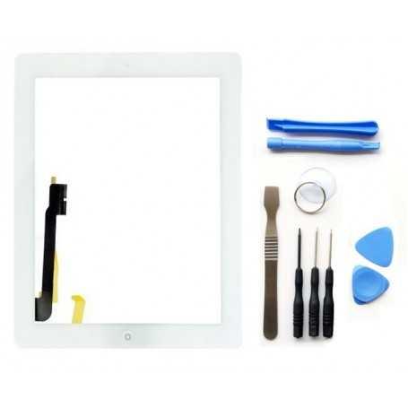 Kit Ecran/Vitre tactile Complète pour iPad 3 et 4 Blanc + Outils iPad + Autocollant 3M