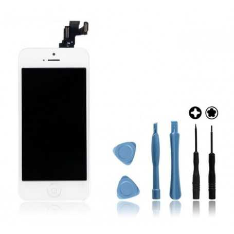 Kit Ecran original complet pour iPhone 5C Blanc : Vitre + Ecran LCD + Elements + Outils
