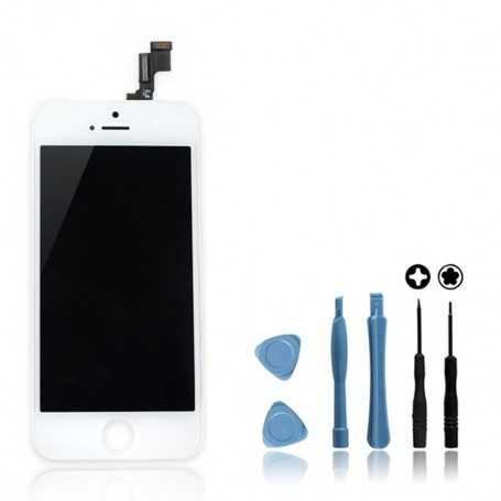 Kit Face avant Originale pour iPhone 5S Blanc : Vitre Tactile + Ecran LCD + Outils
