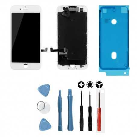 Kit Ecran original complet pour iPhone 7 Blanc : Vitre + Ecran LCD + Elements + Outils