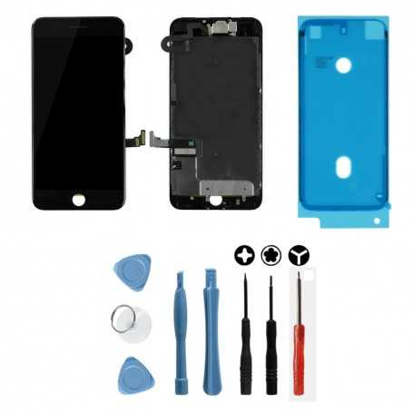 Kit Ecran original complet pour iPhone 7 Plus Noir : Vitre + Ecran LCD + Elements + Outils