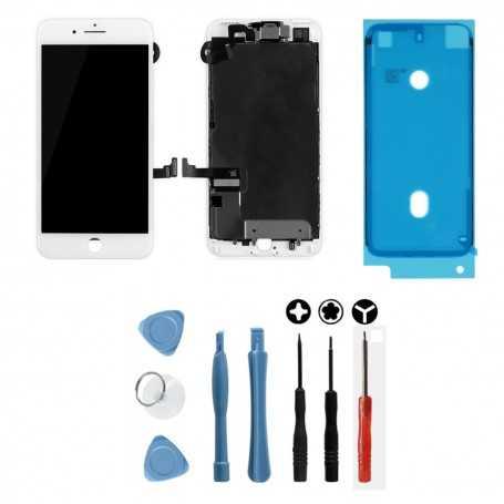 Kit Ecran original complet pour iPhone 7 Plus Blanc : Vitre + Ecran LCD + Elements + Outils