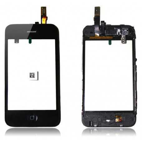 Vitre tactile pour iPhone 3G Noir Montée sur Chassis