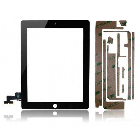 Ecran/Vitre tactile pour iPad 2 Noir + Autocollant 3M