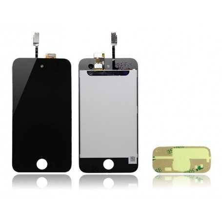 Face avant iPod Touch 4 Noir : Vitre Tactile + Ecran LCD + Autocollant 3M