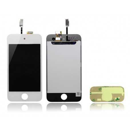 Face avant iPod Touch 4 Blanc : Vitre Tactile + Ecran LCD + Autocollant 3M