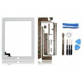 Kit Vitre/Ecran tactile iPad 2 Blanc (WiFi & 3G) + Outils iPad + Autocollant 3M