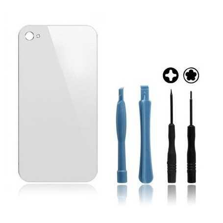 kit vitre arri re iphone 4s blanc vitre arri re en verre outils iphone 4s. Black Bedroom Furniture Sets. Home Design Ideas