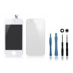Kit Ecran original + Vitre arrière pour iPhone 4S Blanc + Outils