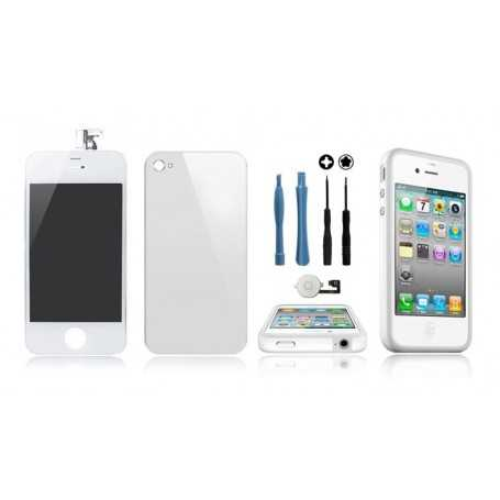 Kit Transformation iPhone 4S Blanc : Ecran + Vitre arrière + Bouton Home + Outils + Bumper Blanc