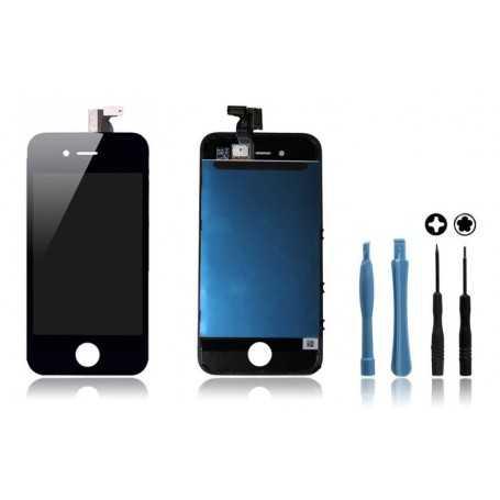 Kit Face avant iPhone 4 Noir : Vitre Tactile + Ecran LCD + Outils
