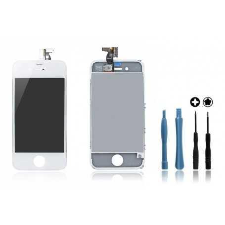 Kit Face avant iPhone 4 Blanc : Vitre Tactile + Ecran LCD + Outils