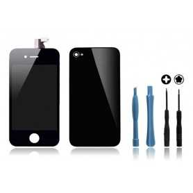 Kit Face avant + Vitre arrière pour iPhone 4 Noir + Outils