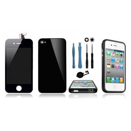 Kit Transformation iPhone 4 Noir : Ecran + Vitre arrière + Bouton Home + Outils + Bumper Noir