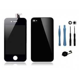 Kit Transformation iPhone 4 Noir : Ecran + Vitre arrière + Bouton Home + Outils