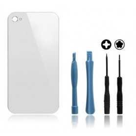 Kit Vitre arrière pour iPhone 4 Blanc : Vitre arrière + Outils