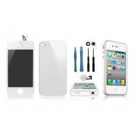 Kit Transformation iPhone 4 Blanc : Ecran + Vitre arrière + Bouton Home + Outils + Bumper Blanc