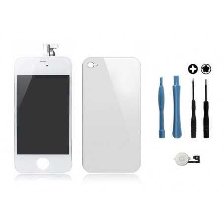 Kit Transformation iPhone 4 Blanc : Ecran + Vitre arrière + Bouton Home + Outils