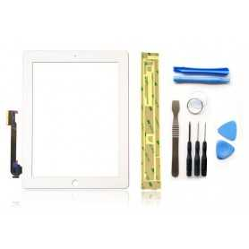 Kit Vitre/Ecran tactile iPad 3 et 4 Blanc (WiFi & 3G) + Outils iPad + Autocollant 3M