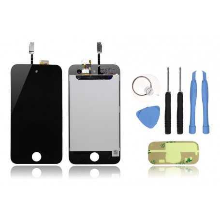 Kit Face avant iPod Touch 4 Noir : Vitre Tactile + Ecran LCD + Outils + Autocollant 3M