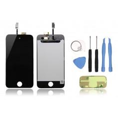 Kit Ecran iPod Touch 4 Noir : Vitre Tactile + Ecran LCD + Outils + Autocollant 3M