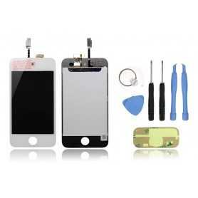 Kit Face avant iPod Touch 4 Blanc : Vitre Tactile + Ecran LCD + Outils + Autocollant 3M