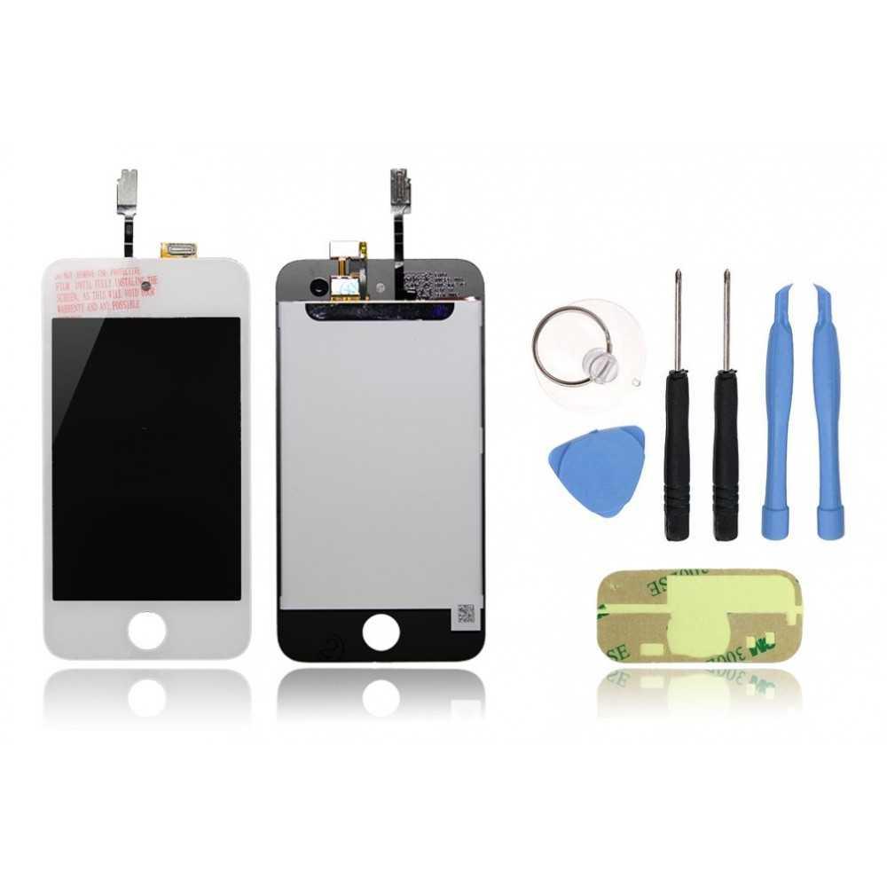 kit ecran complet ipod touch 4 blanc vitre tactile ecran outils autocollant 3m. Black Bedroom Furniture Sets. Home Design Ideas