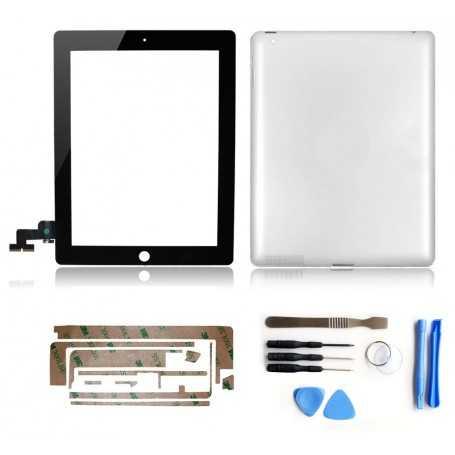 Kit Vitre tactile + Coque arrière pour iPad 2 Noir (WiFi & 3G) + Autocollant 3M