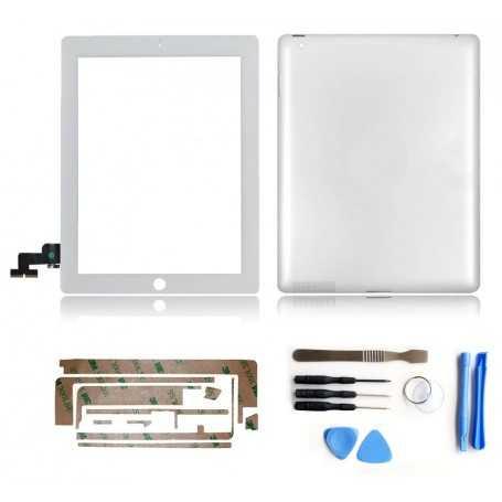 Kit Vitre tactile + Coque arrière pour iPad 2 Blanc (WiFi & 3G) + Autocollant 3M