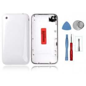 Kit Coque de remplacement pour iPhone 3GS Blanc avec Contour Chromé + Outils iPhone 3GS