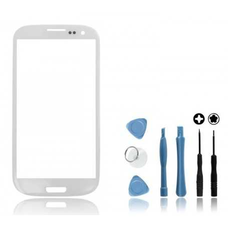 Kit Vitre Samsung Galaxy S3 Blanc + Outils