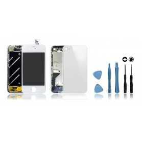 Kit de remise à neuf iPhone 4 Blanc : Ecran + Châssis + Vitre Arrière + Outils