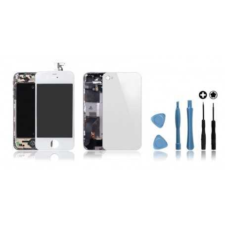 Kit de remise à neuf iPhone 4S Blanc : Ecran + Châssis + Vitre Arrière + Outils