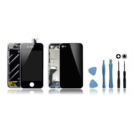 Kit de remise à neuf iPhone 4 Noir : Ecran + Châssis + Vitre Arrière + Outils