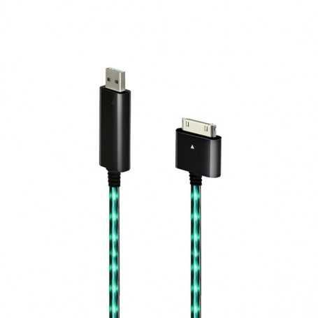 """Câble chargeur noir """"Dock"""" lumineux avec éclairage Vert pour iPhone, iPad, et iPod Touch"""
