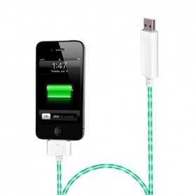 """Câble chargeur blanc """"Dock"""" lumineux avec éclairage Vert pour iPhone, iPad, et iPod Touch"""