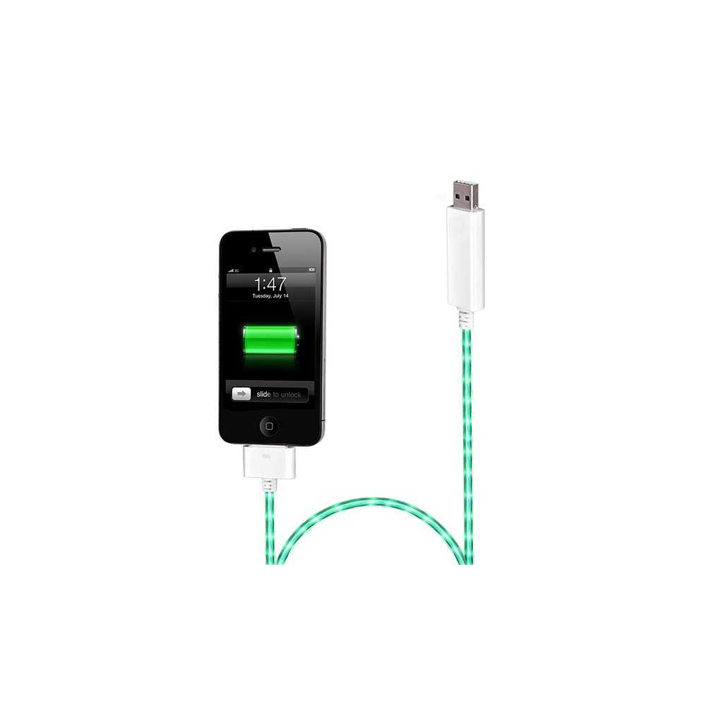 c ble chargeur blanc dock lumineux avec clairage vert pour iphone ipad et ipod touch. Black Bedroom Furniture Sets. Home Design Ideas