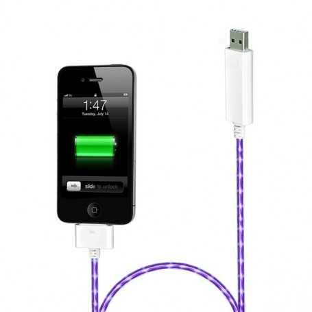 """Câble chargeur blanc """"Dock"""" lumineux avec éclairage Violet pour iPhone, iPad, et iPod Touch"""