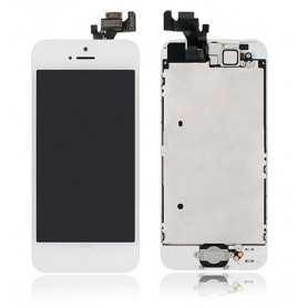 Face avant complète Originale pour iPhone 5 Blanc : Vitre + Ecran LCD + Elements
