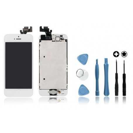 Kit Face avant complète Originale pour iPhone 5 Blanc : Vitre + Ecran LCD + Elements + Outils