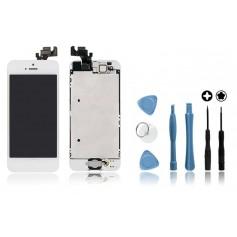 Kit Ecran original complet pour iPhone 5 Blanc : Vitre + Ecran LCD + Elements + Outils