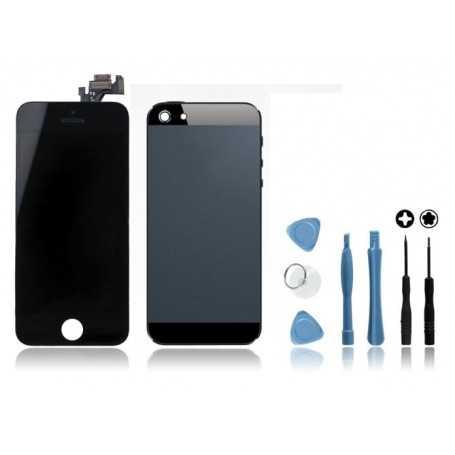 Kit Face avant + Coque arrière pour iPhone 5 Noir + Outils