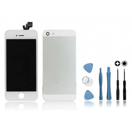 Kit Face avant + Coque arrière pour iPhone 5 Blanc + Outils