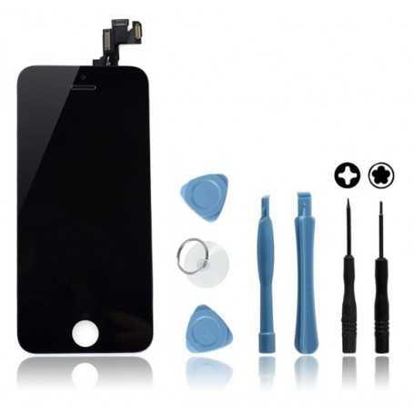 Kit Face avant complète Originale pour iPhone 5S Noir : Vitre + Ecran LCD + Elements + Outils