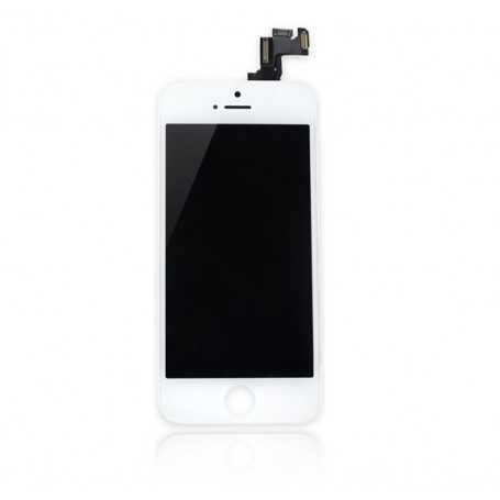 Face avant complète Originale pour iPhone 5S Blanc : Vitre + Ecran LCD + Elements