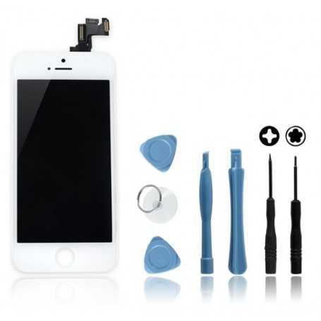Kit Face avant complète Originale pour iPhone 5S Blanc : Vitre + Ecran LCD + Elements + Outils